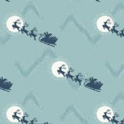 Lewis & Irene Northern Lights - 4717 - Santa's Sleigh on Duckegg (Metallic) - C1.2 - Cotton Fabric
